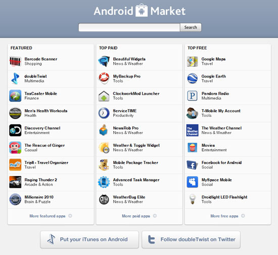 DoubleTwist Launches Android Market on the Web