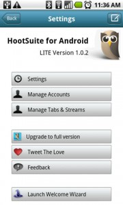 HootSuite for Twitter Settings Menu
