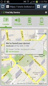Lookout Security & Antivirus Find Missing Device on Map