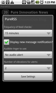 PureRSS Settings Menu