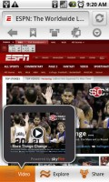 Skyfire Mobile Browser Full ESPN Webpage with Flash Video