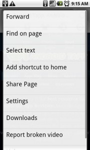 Skyfire Mobile Browser Page Options