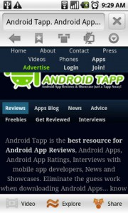 Skyfire Mobile Browser Viewing AndroidTapp.com