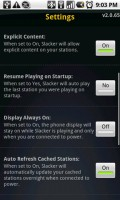 Slacker Radio Settings Menu