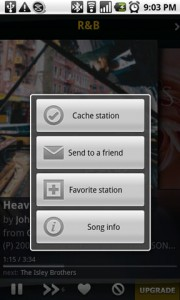 Slacker Radio Song Options