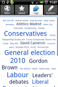 A screen shot of the tag cloud in the Guardian Anywhere app