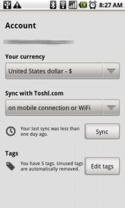 Toshl Expense Tracker Settings Menu