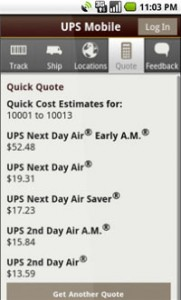 UPS Mobile for Android Quote