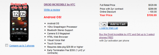 HTC Incredible Online Sold Out Until May 4th