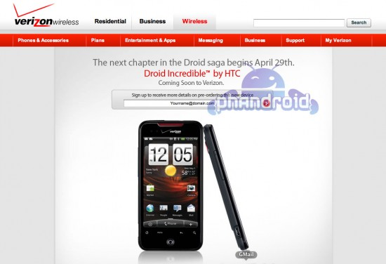 Confirmed: HTC Incredible Launches on Verizon April 29