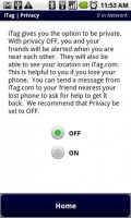 iTag Privacy Settings