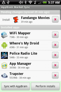 AppBrain Manage Apps