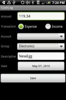 CashLog Entry Screen