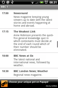 TV-Guide UK Channel Screen