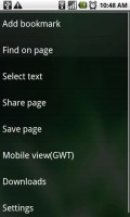 Dolphin Browser HD Webpage Options
