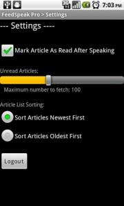 FeedSpeak Pro Settings Menu