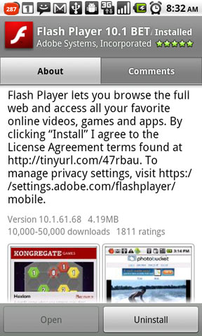 Got Android 2.2 on Nexus One? Get Flash 10.1 from Android Market Too!