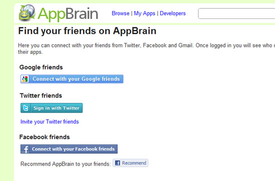See What Apps Your Friends Use on AppBrain Android Market Viewer