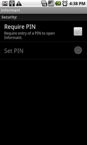 Informant Require Pin
