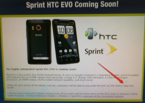 Leak Alert: Pre-Orders for HTC Evo Later this Month at The Shack?