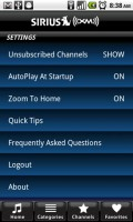 SIRIUS XM Radio Settings Menu
