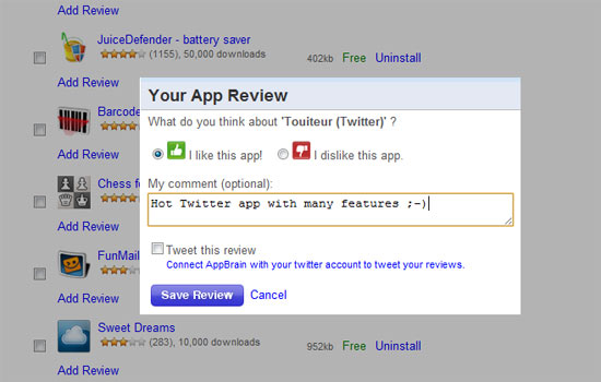 Write User Reviews on AppBrain