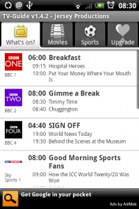 TV-Guide UK Home Screen