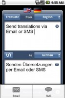 iTranslate Translating Text with Send Options