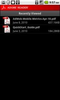 Adobe Reader for Android Recently Viewed