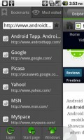 Dolphin Browser HD2 Bookmarks and Most Viewed Panel