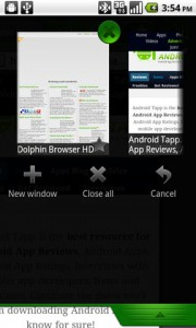 Dolphin Browser HD2 Window Management Slidedown