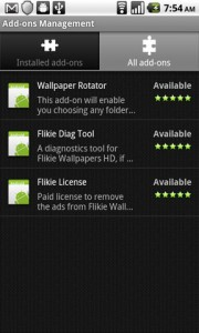 Flikie Wallpapers Addons Management