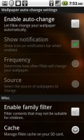Flikie Wallpapers Settings Menu