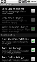 Mixzing Music Player Settings Menu
