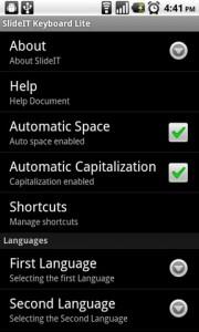 SlideIT Keyboard Options Menu