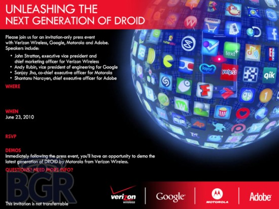 Verizon Announcing DROID X and DROID 2 on June 23rd