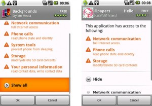 Comparison of Android App Permissions of Popular Backgrounds App versus Jackeey Wallpaper Apps
