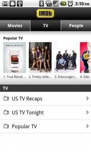 IMDb Movies and TV Main Screen