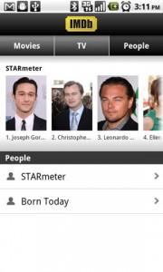 IMDb Movies and TV People Main Screen