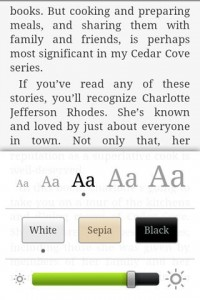 Kindle for Android Text Resize Options