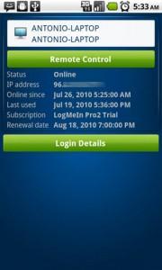 LogMeIn Ingition Host Computer Details