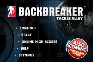 Backbreaker Football Start Screen