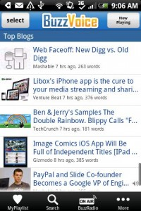 BuzzVoice for Android Top Blogs List