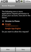 Chrome to Phone Allow Access