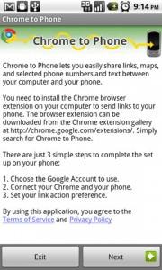 Chrome to Phone Setup