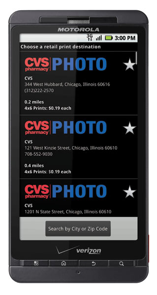 DROID X can Print Directly to CVS Pharmacy Locations
