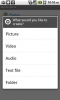 Dropbox for Android Create New File