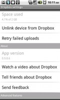 Dropbox for Android Settings Menu