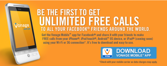 Vonage Mobile App for Facebook Allows Calling Facebook Friends Free