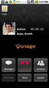 Vonage Mobile App for Facebook on Call